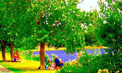 Summer Along The Canal Painting - Under The Dreamers Shade Tree Lachine Canal Park Grounds Summer Montreal Scenes Carole Spandau by Carole Spandau