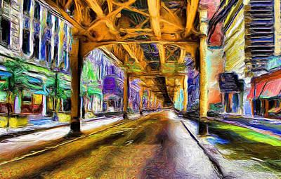 Train Tracks Digital Art - Under The El - 20 by Ely Arsha