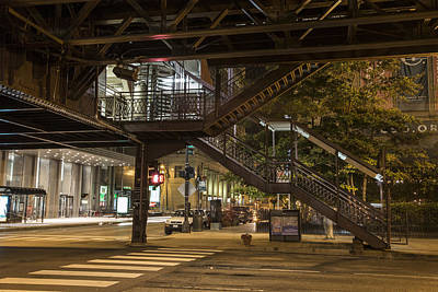 Crosswalk Photograph - Under The L In Chicago In Color  by John McGraw