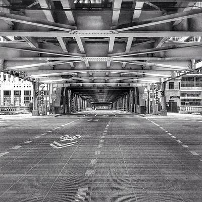 White Photograph - Chicago Wells Street Bridge Photo by Paul Velgos