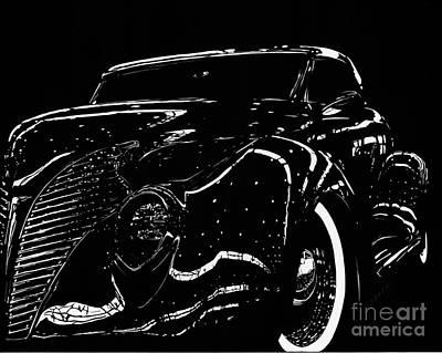 Scratchboard Drawing - Under The Lights 1939 Ford by Matthew Jarrett