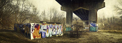Pillars Photograph - Under The Locust Street Bridge by Scott Norris
