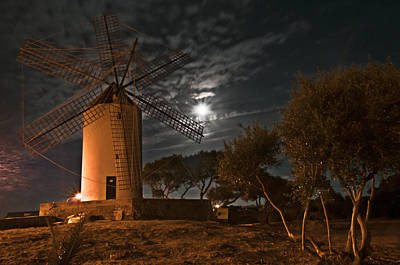 Vintage Windmill In Es Castell Villacarlos George Town In Minorca -  Under The Moonlight Art Print by Pedro Cardona