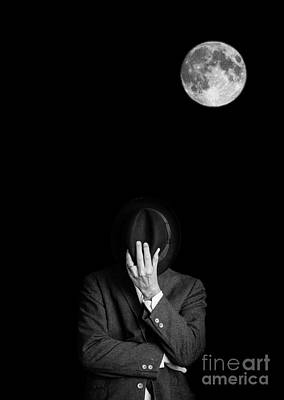 Mans Hat Photograph - Under The Moonlight The Serious Moonlight by Edward Fielding