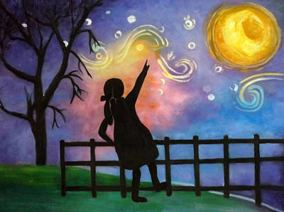 Under The Night Sky Girl Print by Anny Huang