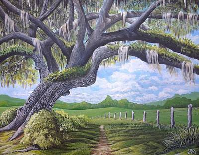 Spanish Moss Painting - Under The Oak by Laura Parrish