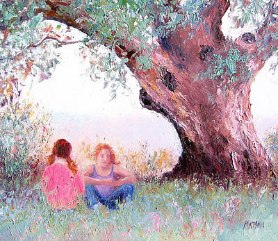 Girl In Landscape Painting - Under The Old Gum by Jan Matson