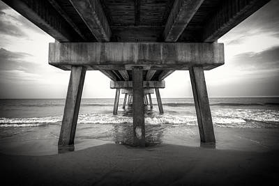 Under The Pier Bw Print by Chris Moore