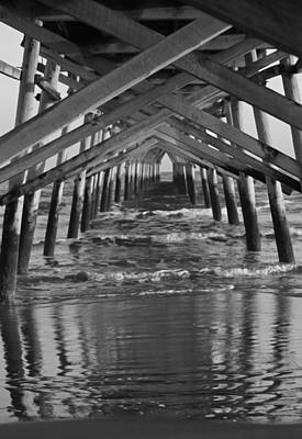 Under The Pier II - Black And White Original by Suzanne Gaff