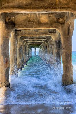 Photograph - Under The Pier Splashing by David Zanzinger