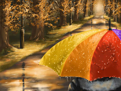 Digital Painting - Under The Rain by Veronica Minozzi