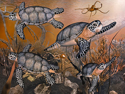 Turtle Digital Art - Under The Red Sea by Betsy Knapp
