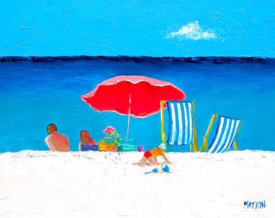 Coastal Wall Art Painting - Under The Red Umbrella by Jan Matson