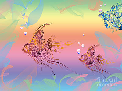Under The Sea Angel Fish Print by Cheryl Young