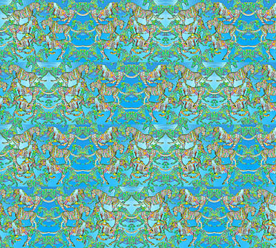 Wallpaper Digital Art - Under The Sea Horses by Betsy Knapp