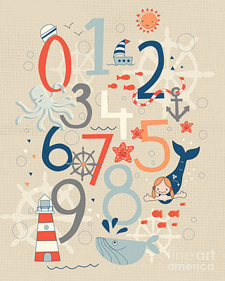 Numbers Drawing - Under The Sea by Kathrin Legg