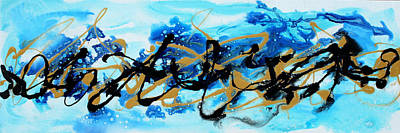 Textured Painting - Under The Sea Original Abstract Blue Gold Painting By Madart by Megan Duncanson