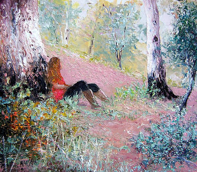 Girl In Landscape Painting - Under The Shade Of The Old Gum by Jan Matson