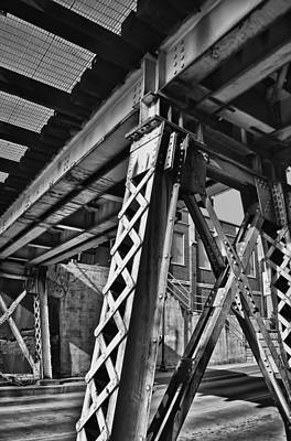 Photograph - Under The Train Trestle In B/w by Greg Jackson