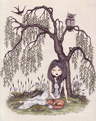 Owl Drawing - Under The Willow Tree by Snezana Kragulj