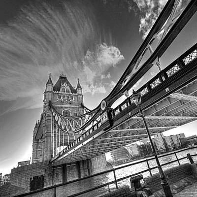 London Landmarks Photograph - Under Tower Bridge Black And White by Gill Billington