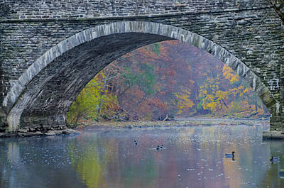 Under Valley Green Bridge In Autumn Art Print by Bill Cannon