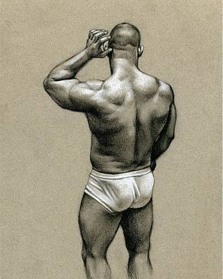 Male Nude Drawing Drawing - Under White by Chris Lopez