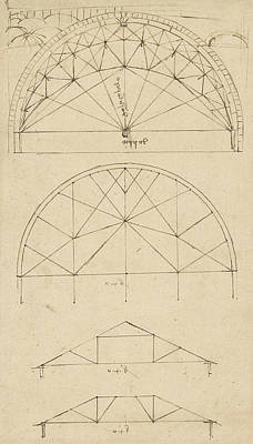 Da Vinci Reproductions Drawing - Underdrawing For Building Temporary Arch by Leonardo Da Vinci