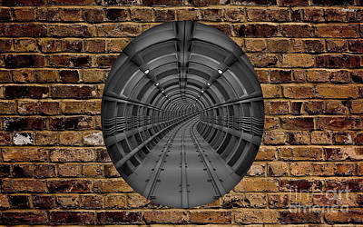 Tracks Mixed Media - Underground Train Tunnel by Marvin Blaine
