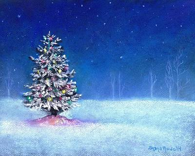 Snowy Night Painting - Underneath December Stars by Shana Rowe Jackson