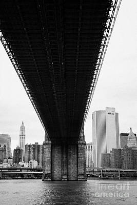 underneath the Brooklyn Bridge new york city Art Print by Joe Fox
