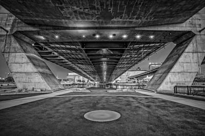 Underneath The Zakim Bridge Bw Art Print