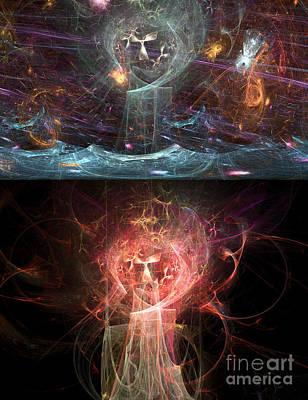 Digital Art - Undersea Angels Red by Russell Kightley