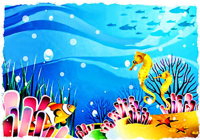 Clown Fish Painting - Undersea Coral Fish And Seahorses by Elaine Plesser