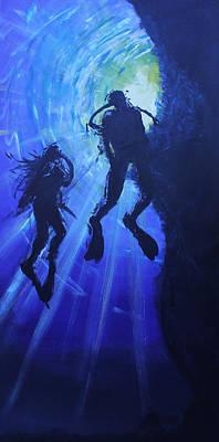 Underwater Lovers Art Print by Morphd Mohawk
