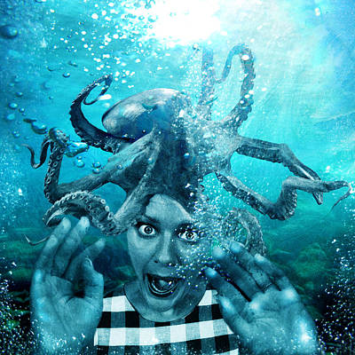 Modern Digital Art Digital Art Digital Art - Underwater Nightmare by Marian Voicu