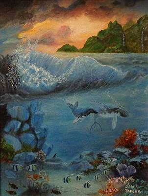 Hawaiian Fish Painting - Underwater Scene 2 by Janis  Tafoya