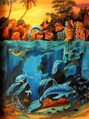 Hawaiian Fish Painting - Underwater Scene by Janis  Tafoya