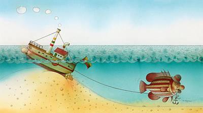 Painting - Underwater Story 02 by Kestutis Kasparavicius