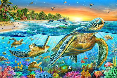 Curios Digital Art - Underwater Turtles by Adrian Chesterman