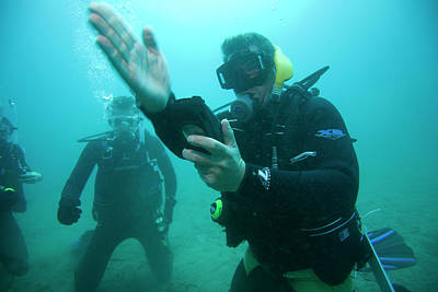 Catalina Island Photograph - Underwater View Of Scuba Divers by Corey Rich
