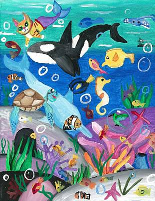 Underwater With Kitty And Friends Art Print by Artists With Autism Inc