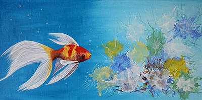 Fish Underwater Painting - Undewater Beauty Original Acrylic Painting by Georgeta  Blanaru