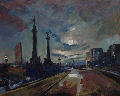 Painting - Une Nuit A Liege Apres La Pluie by Nop Briex