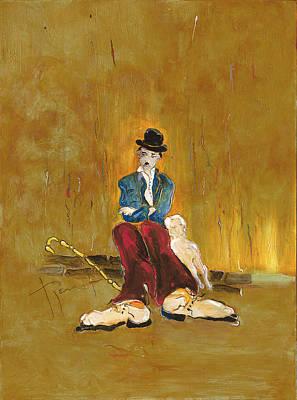 Charlot Painting - Une Vie De Chien - Orig. For Sale by Bernard RENOT