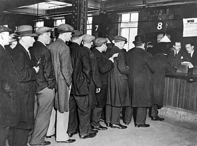 Dole Photograph - Unemployed Queue In London by Underwood Archives