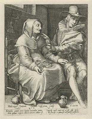 Versus Drawing - Unequal Love, Jacob Goltzius II, Anonymous by Jacob Goltzius (ii) And Anonymous