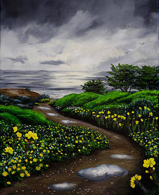 Grey Clouds Painting - Unexpected Summer Rain by Laura Iverson