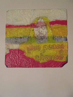 John Lennon Art Drawing - Unfinished But Sold John Lennon Napkin Art by David Lovins