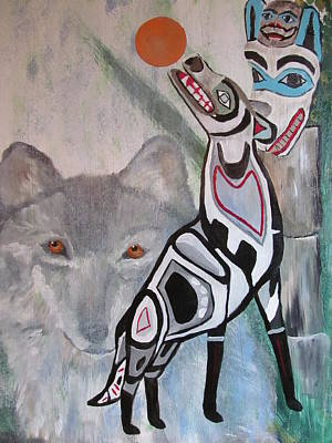 Wolve Painting - Unfinished Wolf Spirit Totem by Susan Snow Voidets